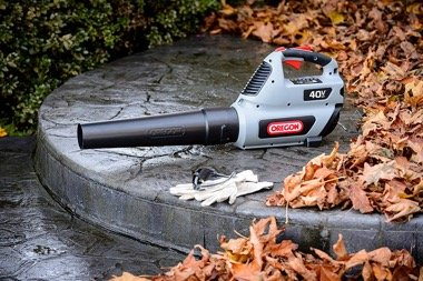 Oregon cordless blower on podium